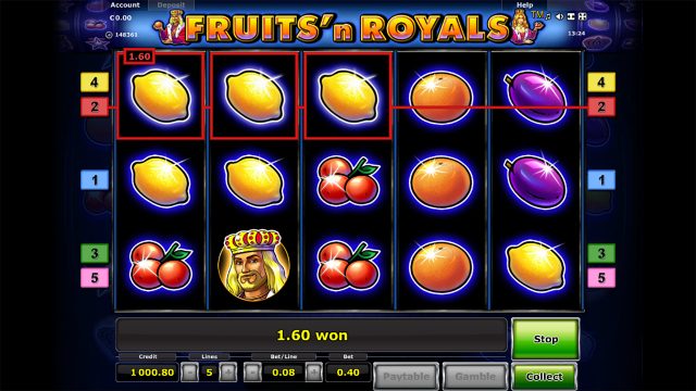Характеристики слота Fruits And Royals 5